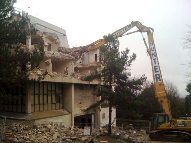 Photograph of the Joseph Proudman Building, during its demolition