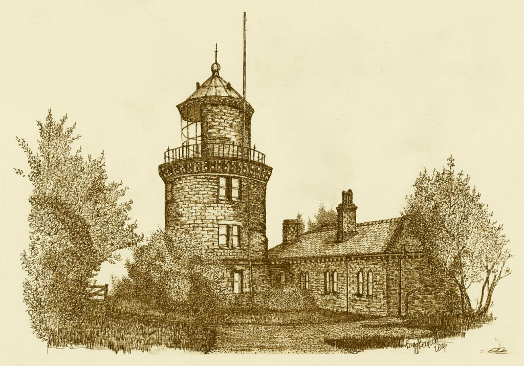 Bidston Lighthouse, drawn by Barry Boulton on 6 Sep 2014