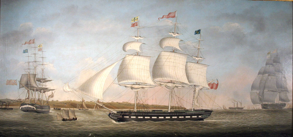 """Gipsey in Three Positions Off Egremont"", Miles Walters, oil on canvas, c. 1828. Image courtesy Vallejo Maritime Gallery, Newport Beach, California."