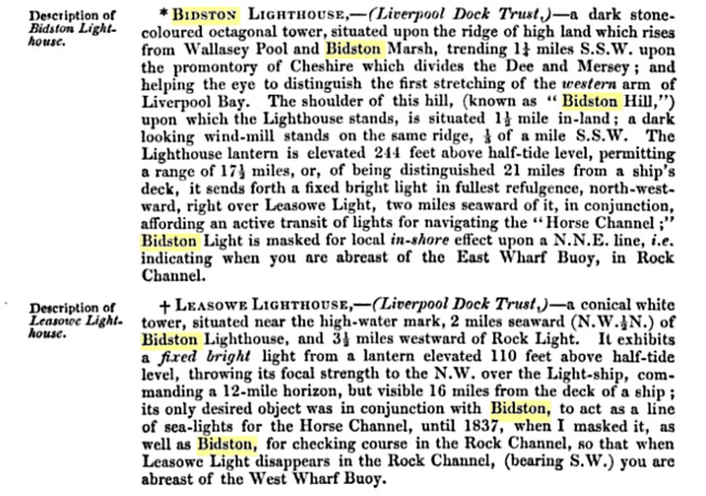 "Extract from ""Sailing Directions from Point Lynas to Liverpool"", 1840"