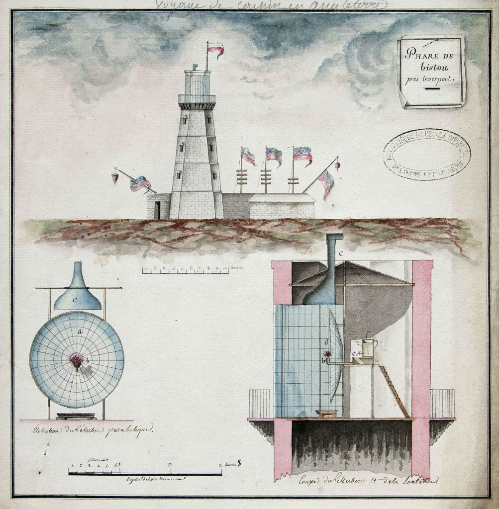 Drawings of Bidston Lighthouse and reflector, by Joseph Cachin, 1785.
