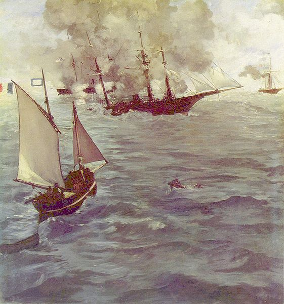 The Battle of the Kearsarge and the Alabama, Edouard Manet, oil on canvas, 1864. Wikimedia commons (original currently held in the Philadelphia Museum of Art)