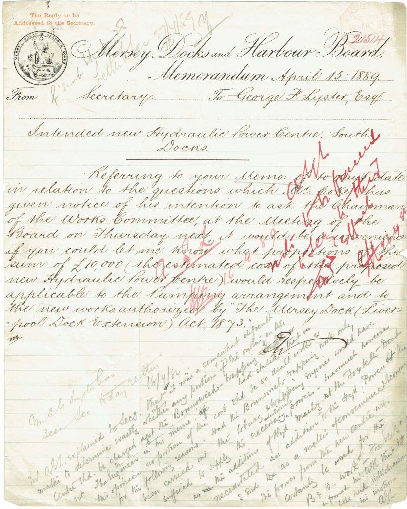 MDHB memo to G.F. Lyster, 1889