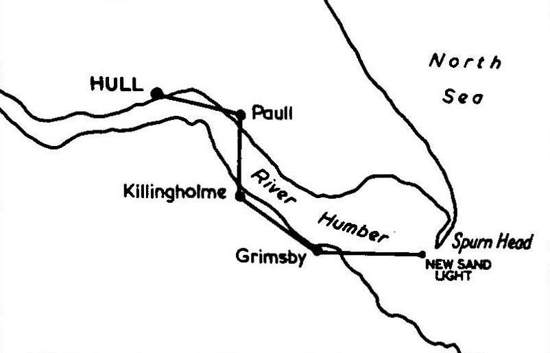 "Stations in the Hull-Spurn optical telegraph. From ""The Old Telegraphs"" by Geoffrey Wilson."