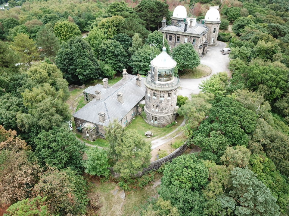Aerial photograph of Bidston Lighthouse and Observatory. Photo by Geoff Shannon, 20 Aug 2018.
