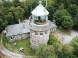 Aerial close-up of Bidston's lantern. Photo by Geoff Shannon, 20 Aug 2018.